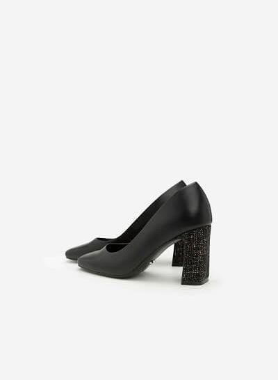 Giày Cao Gót Phối Vải Tweed - BMN 0295 - Màu Đen - VASCARA