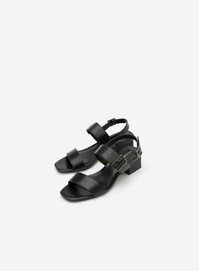 Giày Sandal Gót Vuông - SDN 0609 - Màu Đen - VASCARA