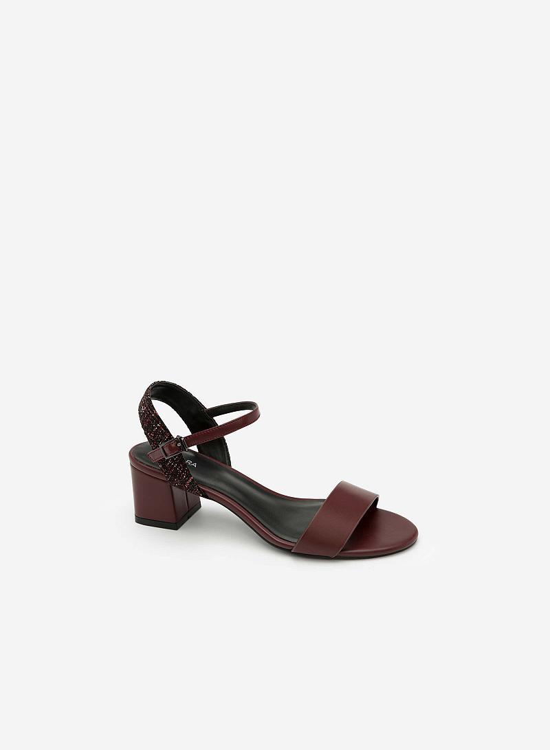 Giày Sandal Gót Vuông Phối Vải Tweed - SDN 0611 - Màu Đỏ Đậm - VASCARA