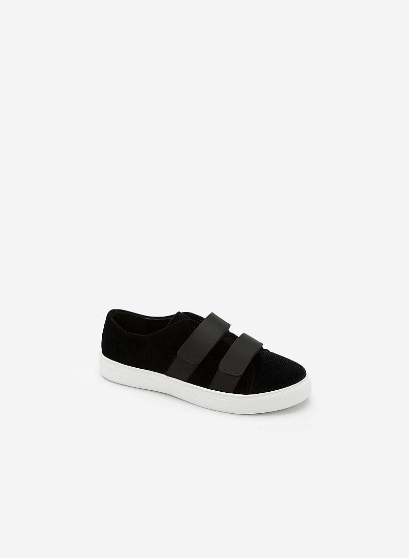 Giày Sneaker Nhung 2 Khóa Gài - SNK 0013 - Màu Đen - VASCARA
