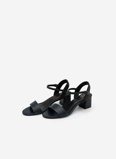 Giày Sandal Gót Vuông Phối Vải Tweed - SDN 0611 - Màu Xanh Navy - VASCARA