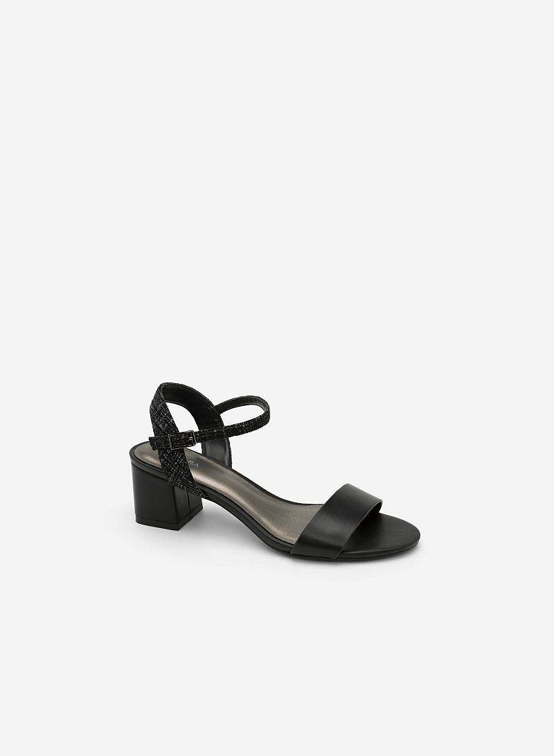 Giày Sandal Gót Vuông Phối Vải Tweed - SDN 0611 - Màu Đen - vascara