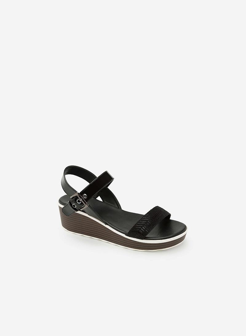 Giày Sandal Đế Xuồng Phối Metallic - SDX 0403 - Màu Đen - VASCARA