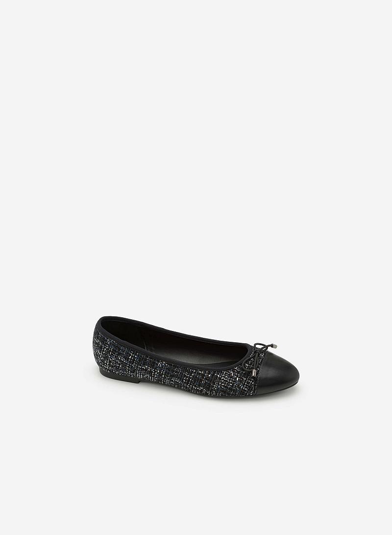 Giày Búp Bê Vải Tweed Đính Nơ - GBB 0404 - Màu Xanh Dương - VASCARA
