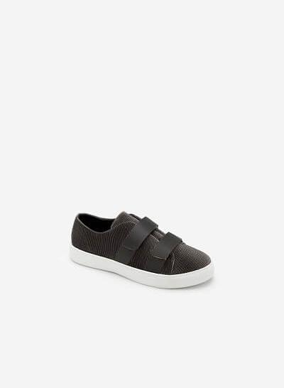 Giày sneaker nhung 2 khóa gài - SNK 0013 - Màu Xám - VASCARA