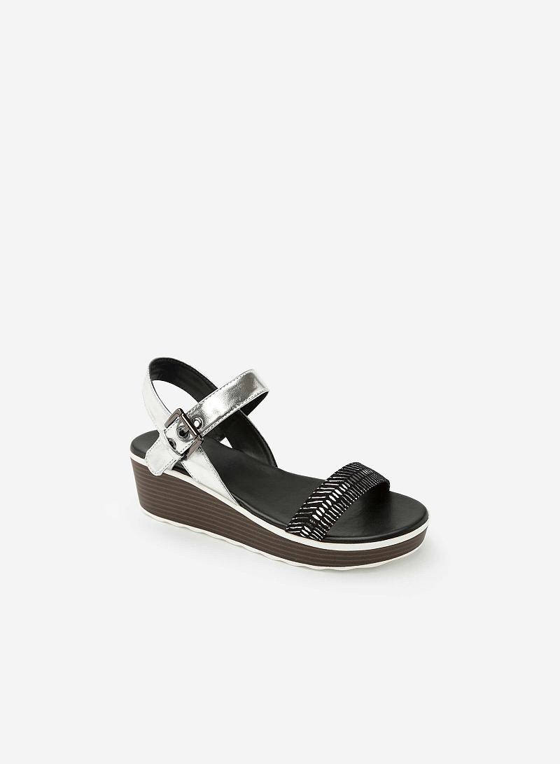 Giày Sandal Đế Xuồng Phối Metallic - SDX 0403 - Màu Bạc - vascara