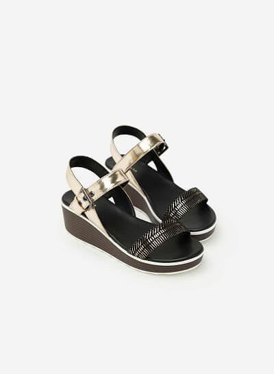 Giày Sandal Đế Xuồng Phối Metallic - SDX 0403 - Màu Vàng Kim - VASCARA