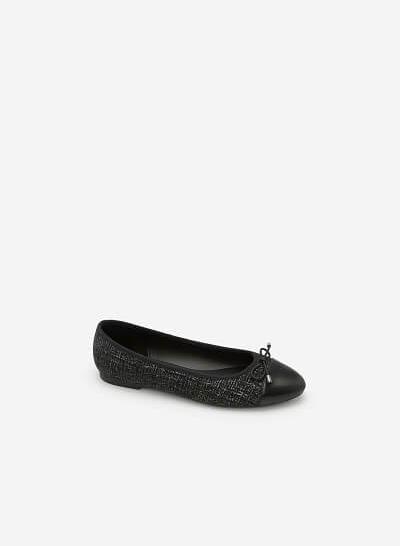 Xem sản phẩm Giày Búp Bê Vải Tweed Đính Nơ - GBB 0404 - Màu Đen