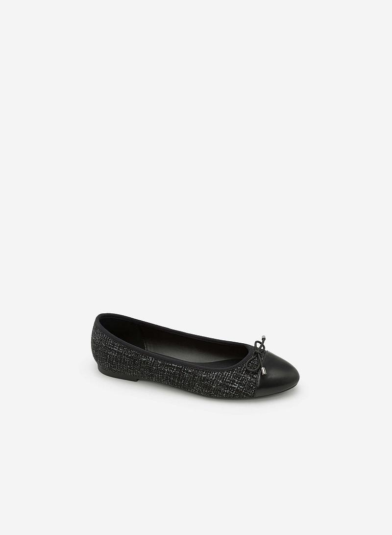 Giày Búp Bê Vải Tweed Đính Nơ - GBB 0404 - Màu Đen - vascara