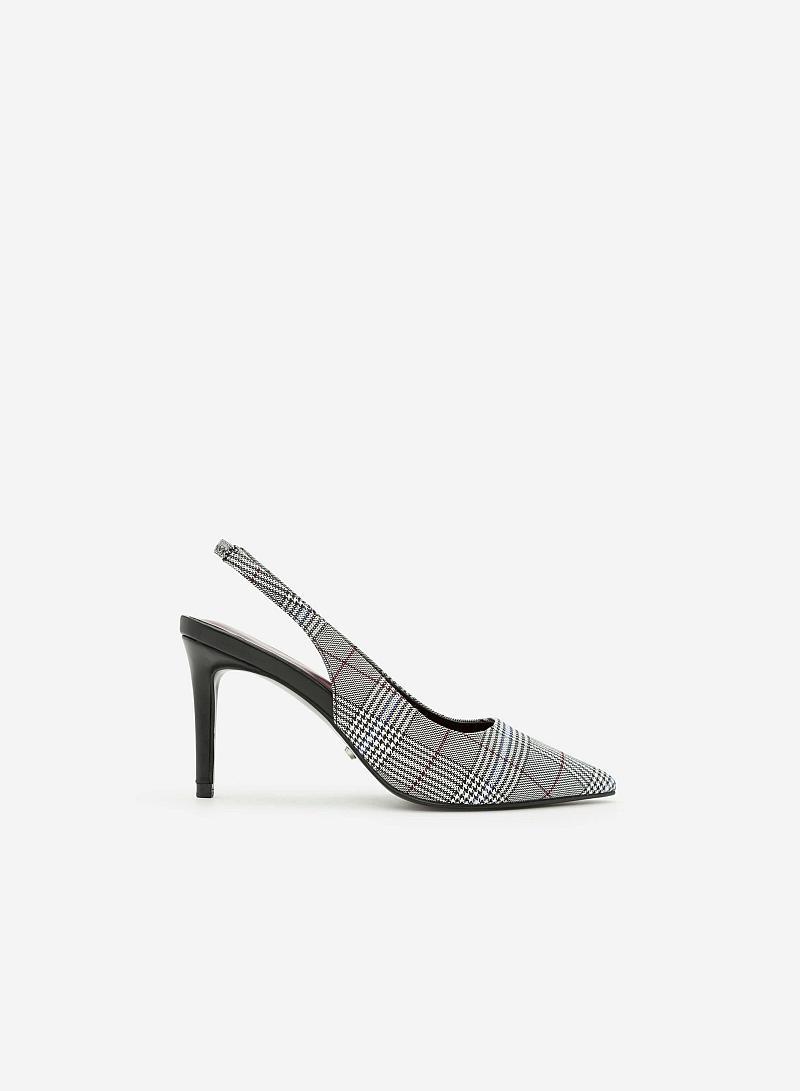 Giày Cao Hở Gót  - BMN 0307 -  Sọc Caro Đỏ Đậm - vascara