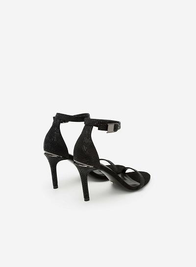 Giày Sandal Cao Gót Có Quai Cổ Chân - SDN 0612 - Màu Đen - VASCARA