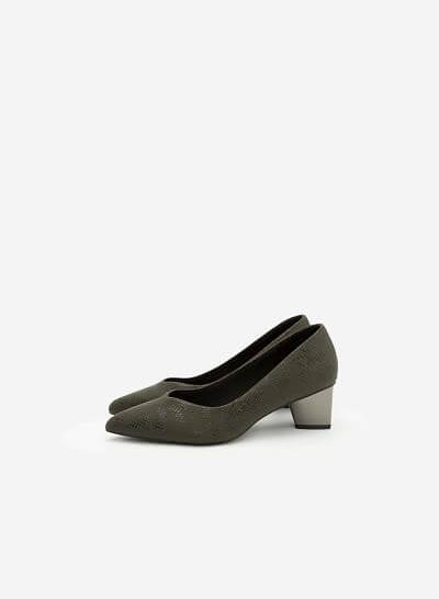 Giày Bít Họa Tiết Vân Da Rắn - BMN 0303 -  Màu Xanh Rêu - VASCARA