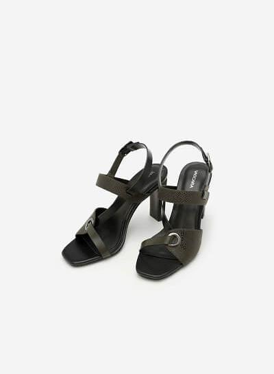 Giày Sandal Cao Gót Quai Lượn Chéo - SDN 0613 -  Màu Xanh Rêu - VASCARA