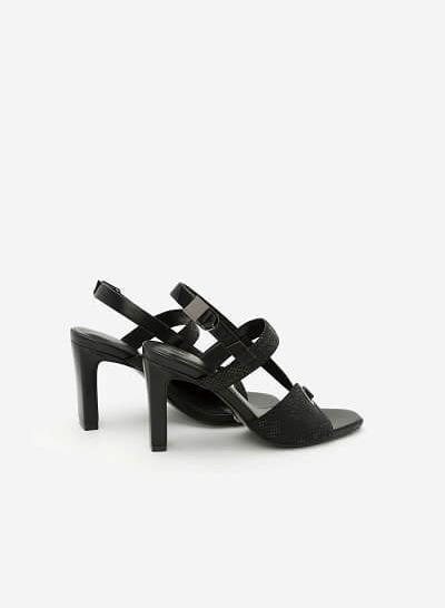 Giày Sandal Cao Gót Quai Lượn Chéo - SDN 0613 -  Màu Đen - VASCARA