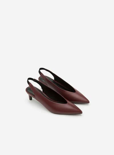 Giày Bít Hở Gót - BMN 0300 -  Màu Đỏ Đậm - VASCARA