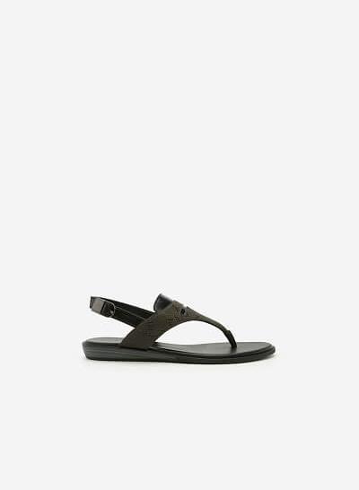 Giày Sandal Quai Kẹp - SDK 0285 -  Màu Xanh Rêu - VASCARA
