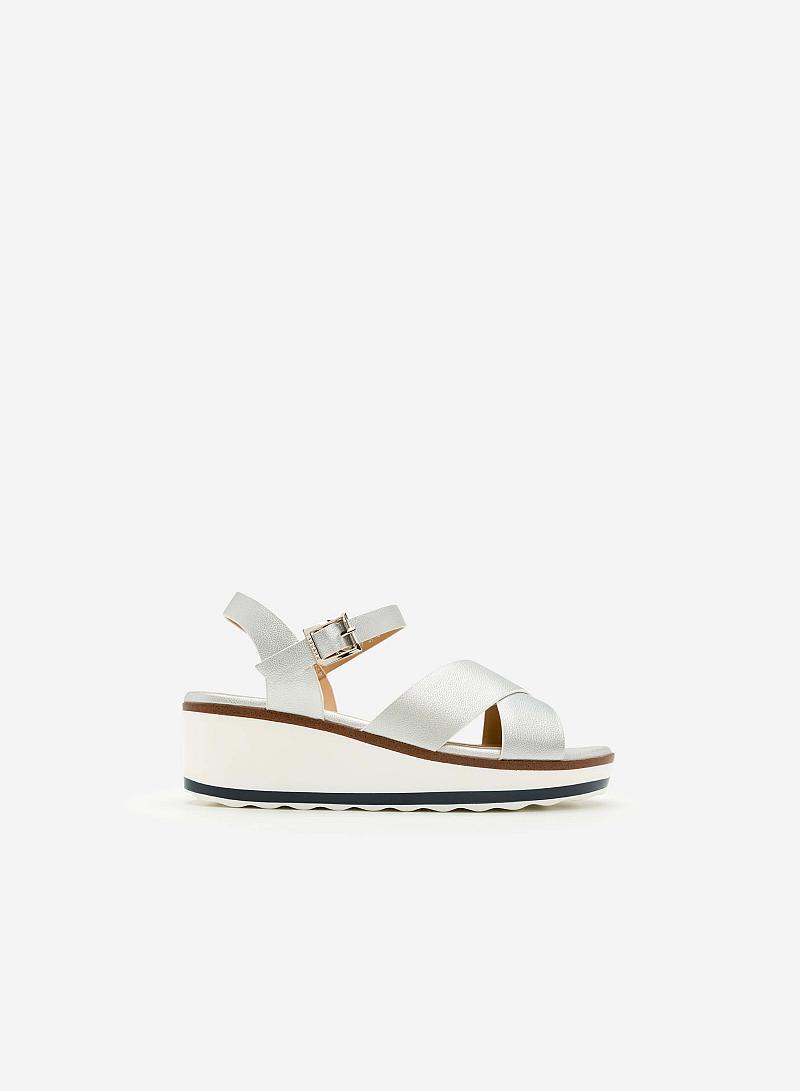 Giày Sandal Đế Xuồng - SDX 0404 -  Màu Bạc - vascara