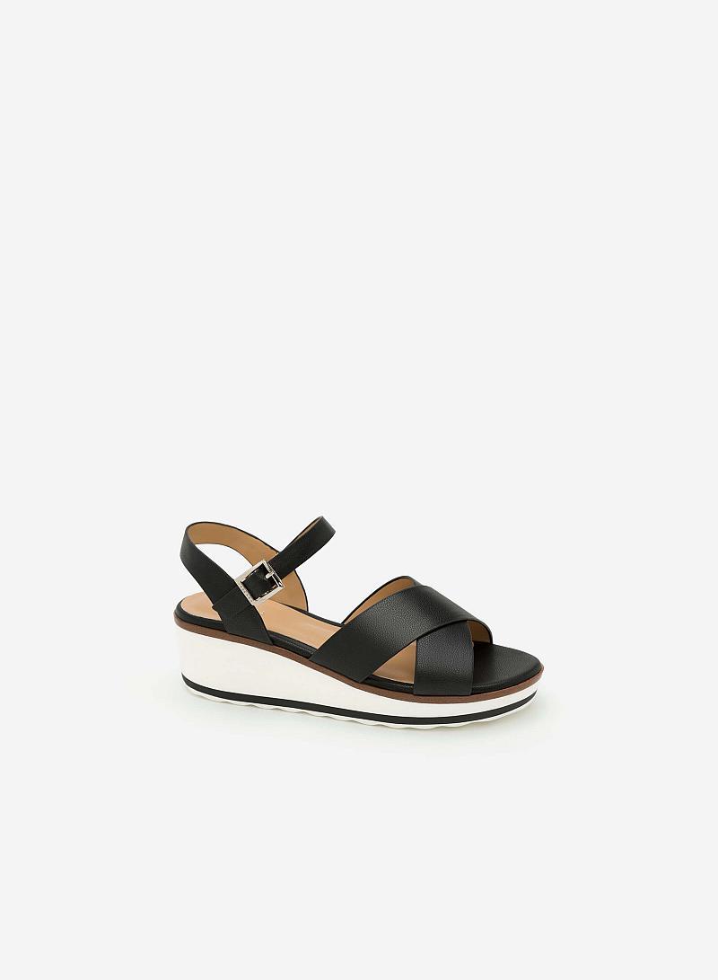 Giày Sandal Đế Xuồng - SDX 0404 -  Màu Đen - VASCARA