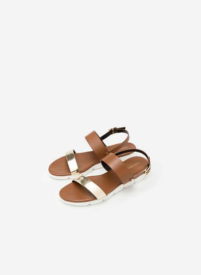Giày Sandal Quai Ngang - SDK 0284 -  Màu Nâu - VASCARA