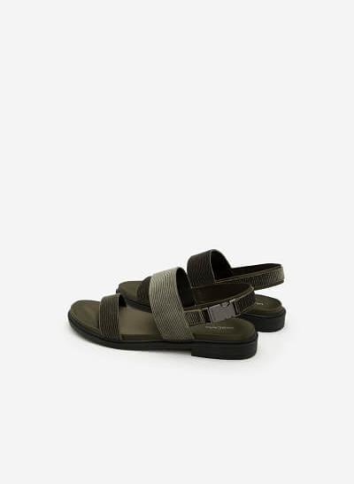 Giày Sandal Quai Ngang - SDK 0282 -  Màu Xanh Rêu - VASCARA