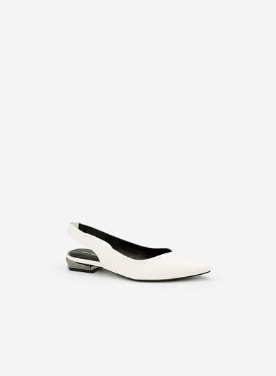 Giày Slingback Phối Gót Metallic - BMN 0337 - Màu Trắng - VASCARA