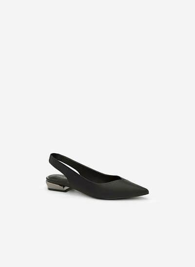 Giày Slingback Phối Gót Metallic - BMN 0337 - Màu Đen - VASCARA