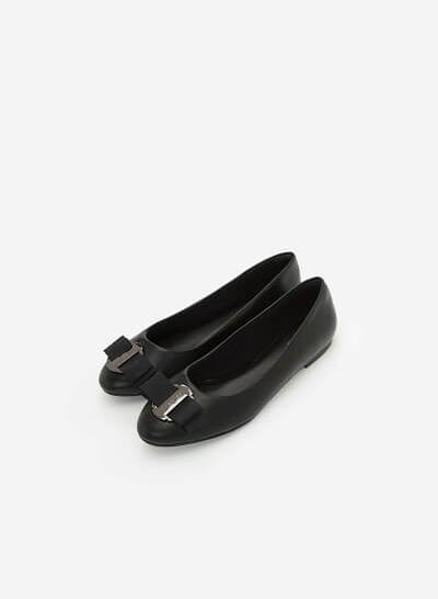 Giày Búp Bê Đính Nơ - GBB 0408 - Màu Đen - vascara.com