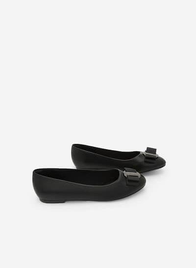 Giày Búp Bê Đính Nơ - GBB 0408 - Màu Đen - VASCARA
