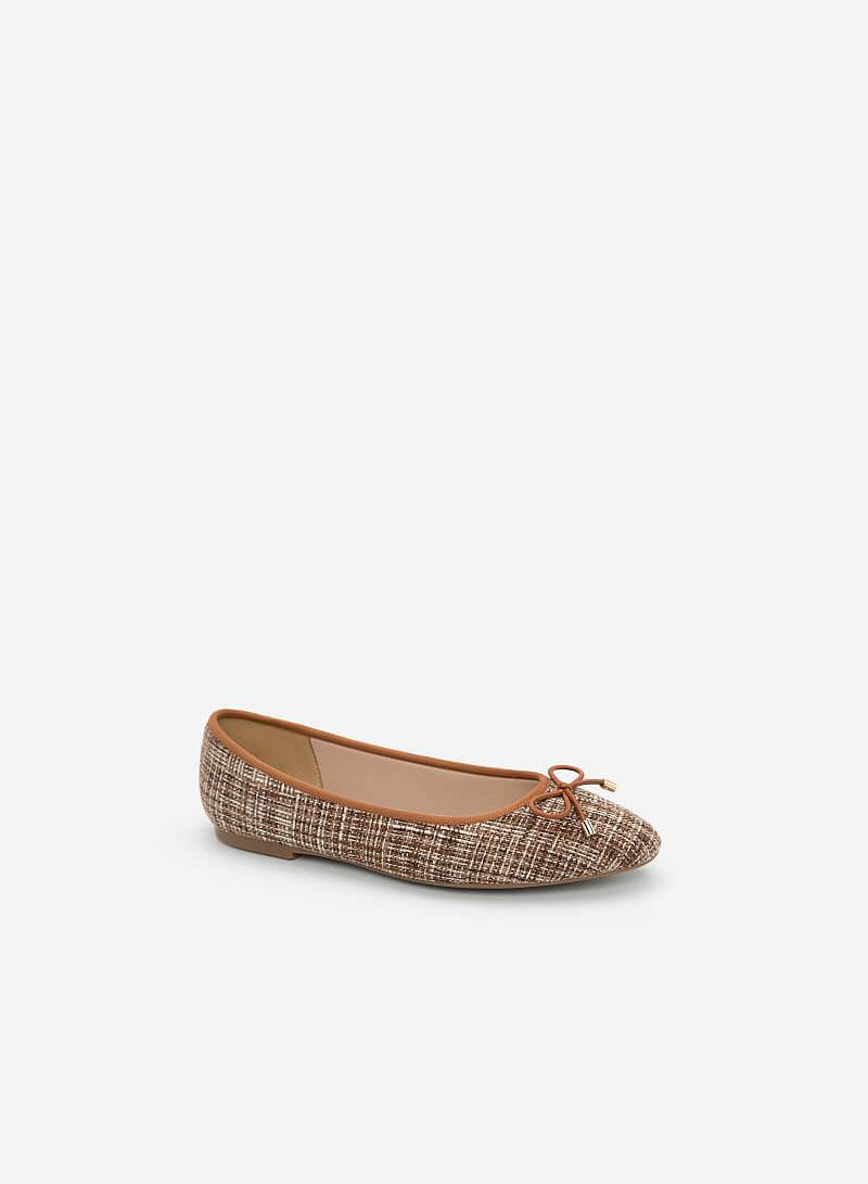 Giày Búp Bê Phối Vải Burlap - GBB 0409 - Màu Nâu - vascara