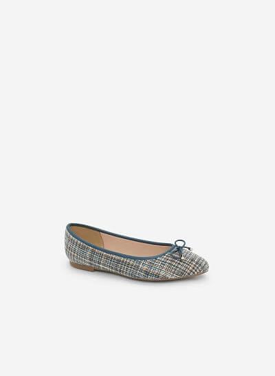 Giày Búp Bê Phối Vải Burlap - GBB 0409 - Màu Xanh Cổ Vịt