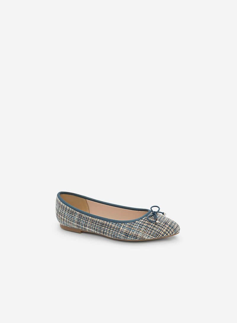 Giày Búp Bê Phối Vải Burlap - GBB 0409 - Màu Xanh Cổ Vịt - VASCARA