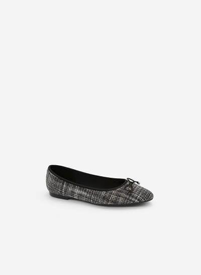 Giày Búp Bê Phối Vải Burlap - GBB 0409 - Màu Đen