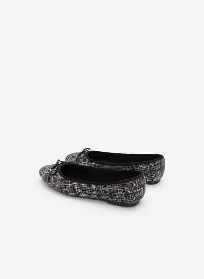 Giày Búp Bê Phối Vải Burlap - GBB 0409 - Màu Đen - VASCARA