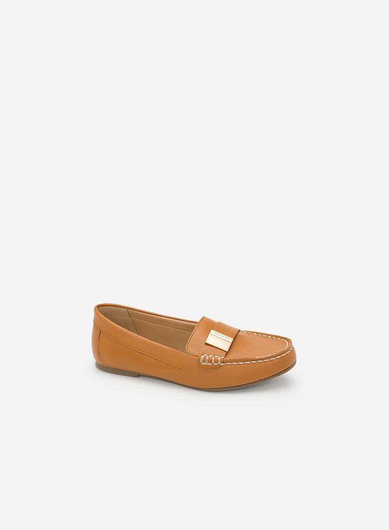 Giày Lười Phối Khóa Cài - MOI 0094 - Màu Nâu Sáng - VASCARA