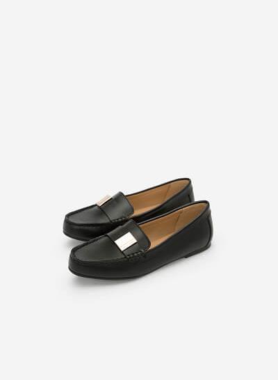Giày Lười Phối Khóa Cài - MOI 0094 - Màu Đen - VASCARA