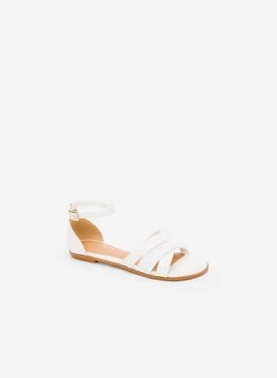 Giày Ankle Strap Bít Gót - SDK 0293 - Màu Trắng