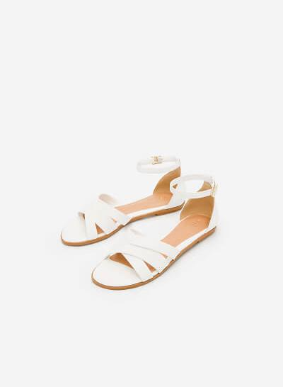Giày Ankle Strap Bít Gót - SDK 0293 - Màu Trắng - VASCARA