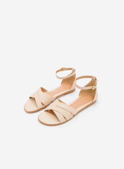 Giày Ankle Strap Bít Gót - SDK 0293 - Màu Be - vascara