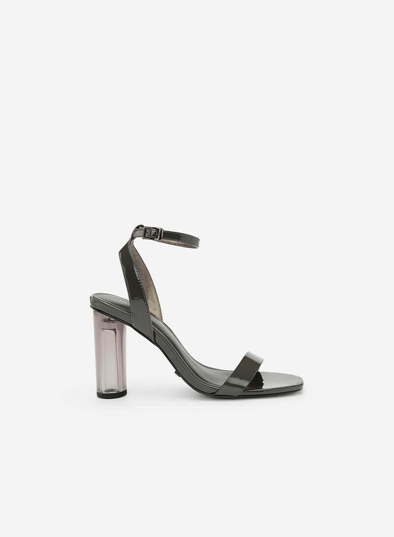 Giày Sandal Gót Trụ Trong Suốt - SDN 0630 - Màu Xám - VASCARA