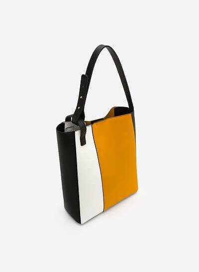 Túi Tote Da Phối Trắng Vàng - TOT 0049 - Màu Vàng - vascara
