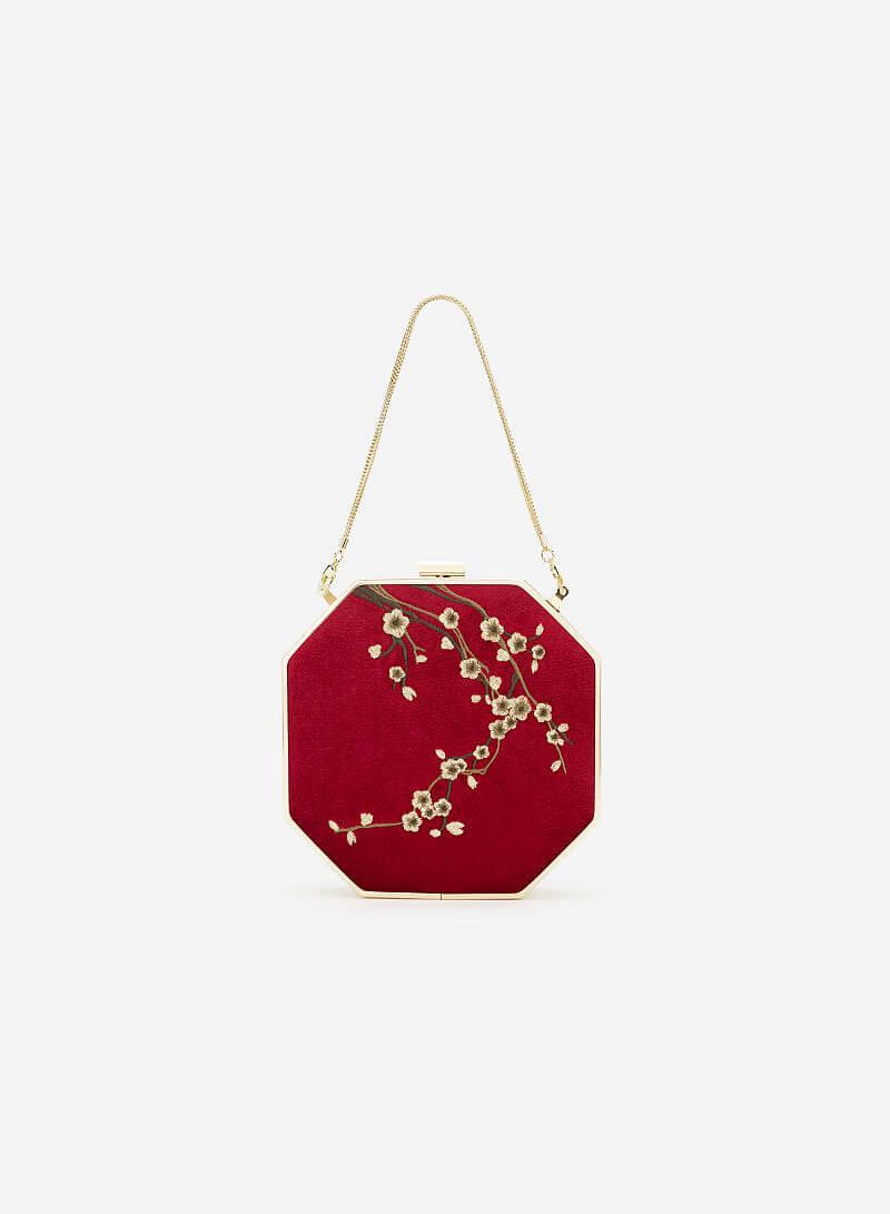 Túi Hộp Gấm Tứ Quý Thêu Họa Tiết Hoa Mai - SHO 0166 - Màu Đỏ