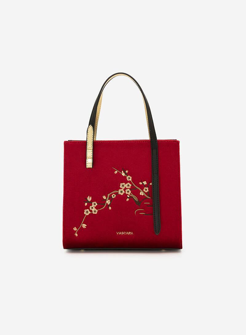 Túi Gấm Tứ Quý Thêu Họa Tiết Hoa Mai - SAT 0252 - Màu Đỏ - VASCARA