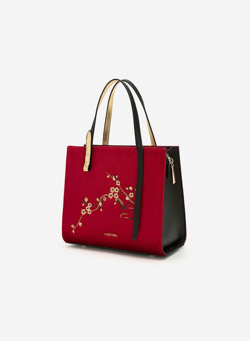 Túi Gấm Tứ Quý Thêu Họa Tiết Hoa Mai - SAT 0252 - Màu Đỏ