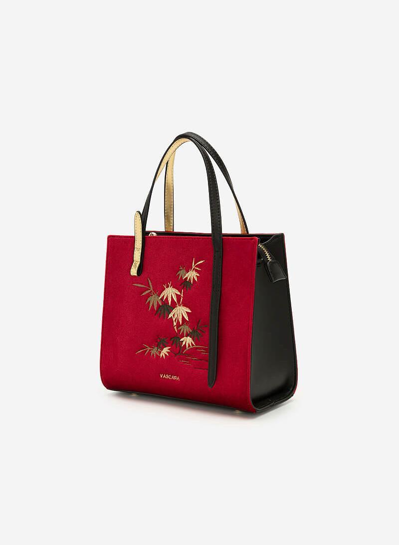 Túi Gấm Tứ Quý Thêu Họa Tiết Cây Trúc - SAT 0251 - Màu Đỏ