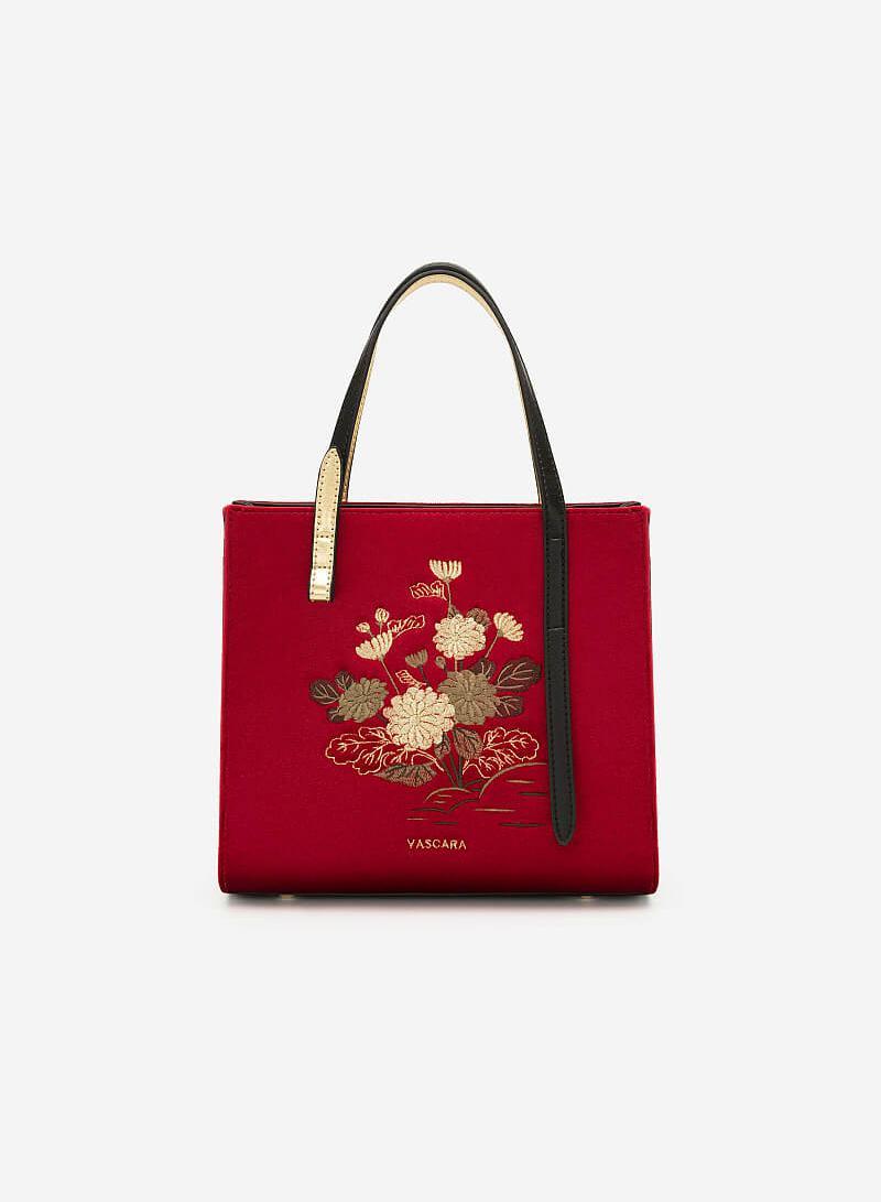 Túi Gấm Tứ Quý Thêu Họa Tiết Hoa Cúc - SAT 0250 - Màu Đỏ - VASCARA