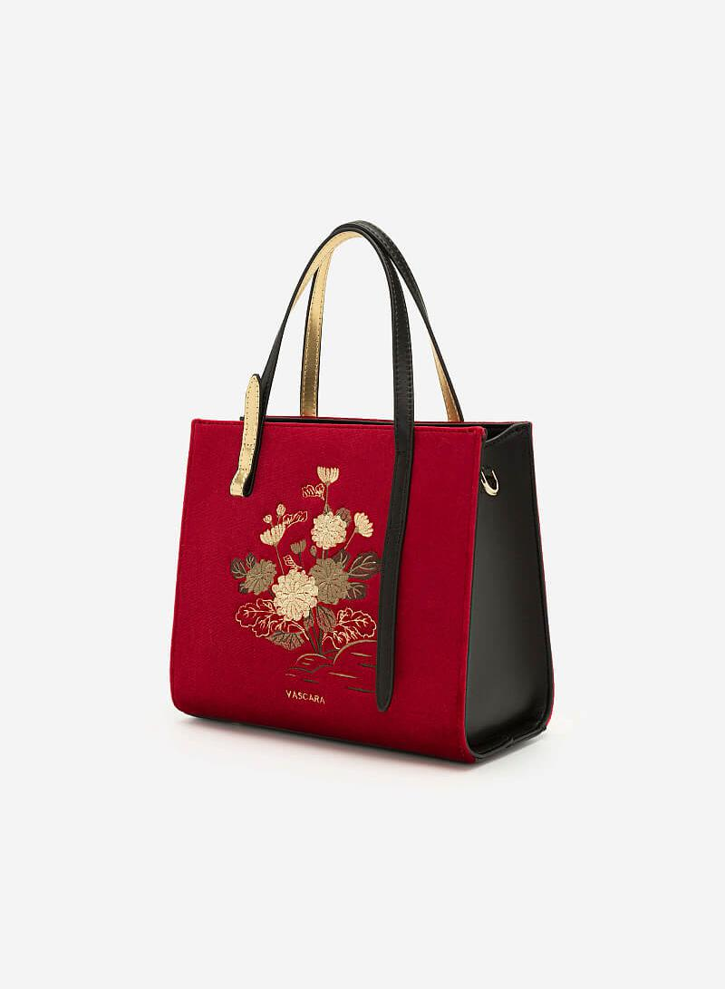 Túi Gấm Tứ Quý Thêu Họa Tiết Hoa Cúc - SAT 0250 - Màu Đỏ