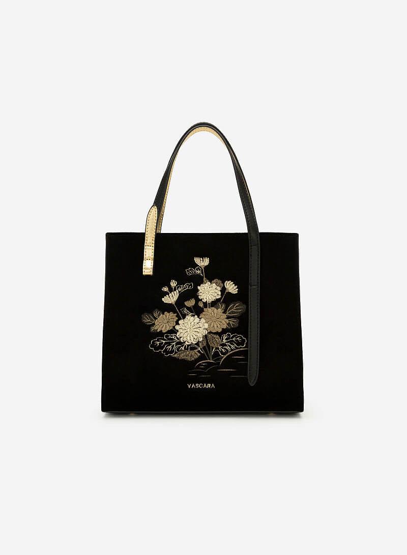 Túi Gấm Tứ Quý Thêu Họa Tiết Hoa Cúc - SAT 0250 - Màu Đen