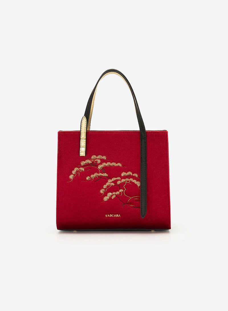 Túi Gấm Tứ Quý Thêu Họa Tiết Cành Tùng - SAT 0249 - Màu Đỏ - VASCARA