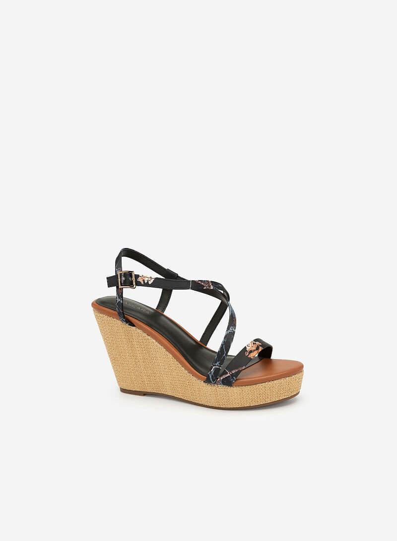 Giày Đế Xuồng Quai Họa Tiết Hoa - SDX 0412 - Màu Đen - VASCARA