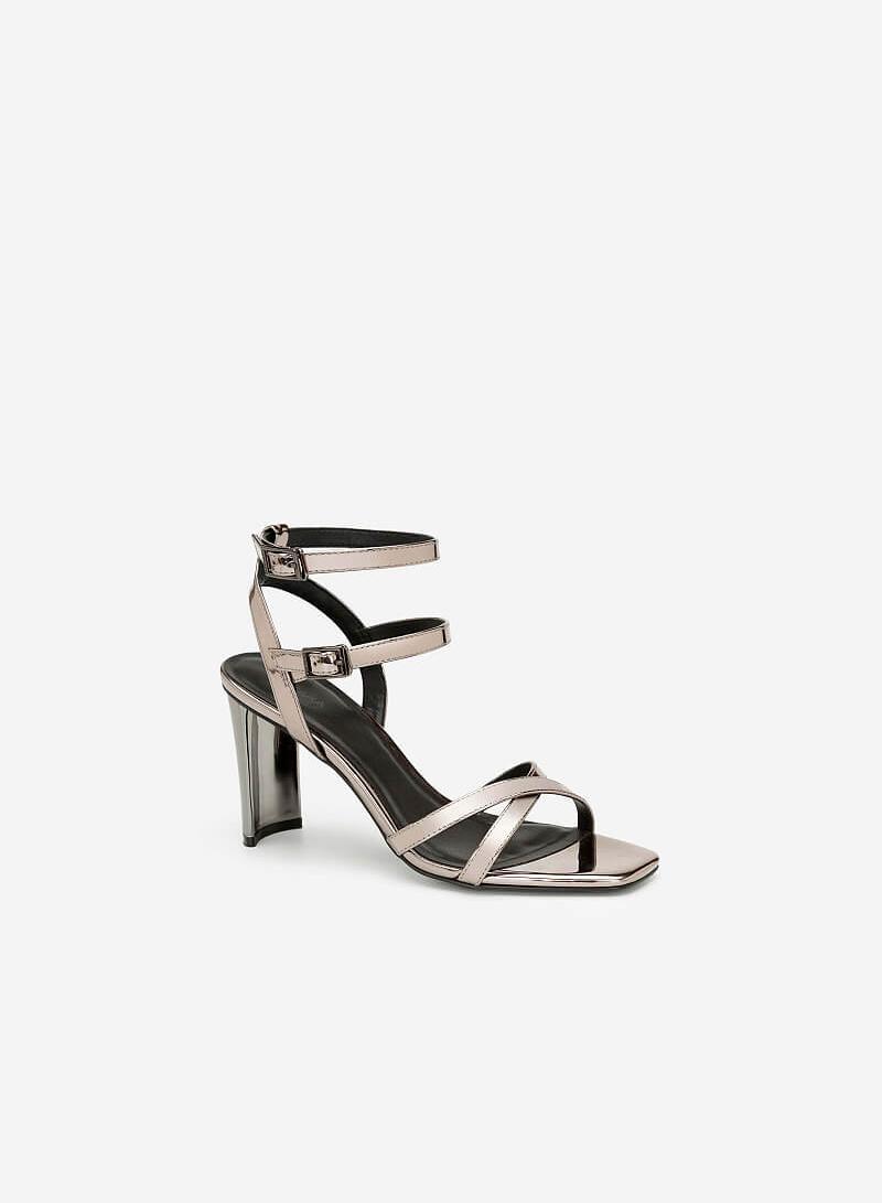 Giày Cao Gót Ankle Strap Metallic - SDN 0637 - Màu Xám Khói Đậm - VASCARA